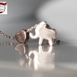 Elephant & Heart Necklace/bracelet/anklet Handmade